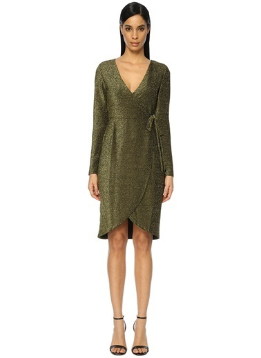 Glamorous V Yaka Mini Anvelop Elbise Altın